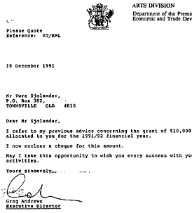$10.000 Grant from the Premier Of Queensland 1991